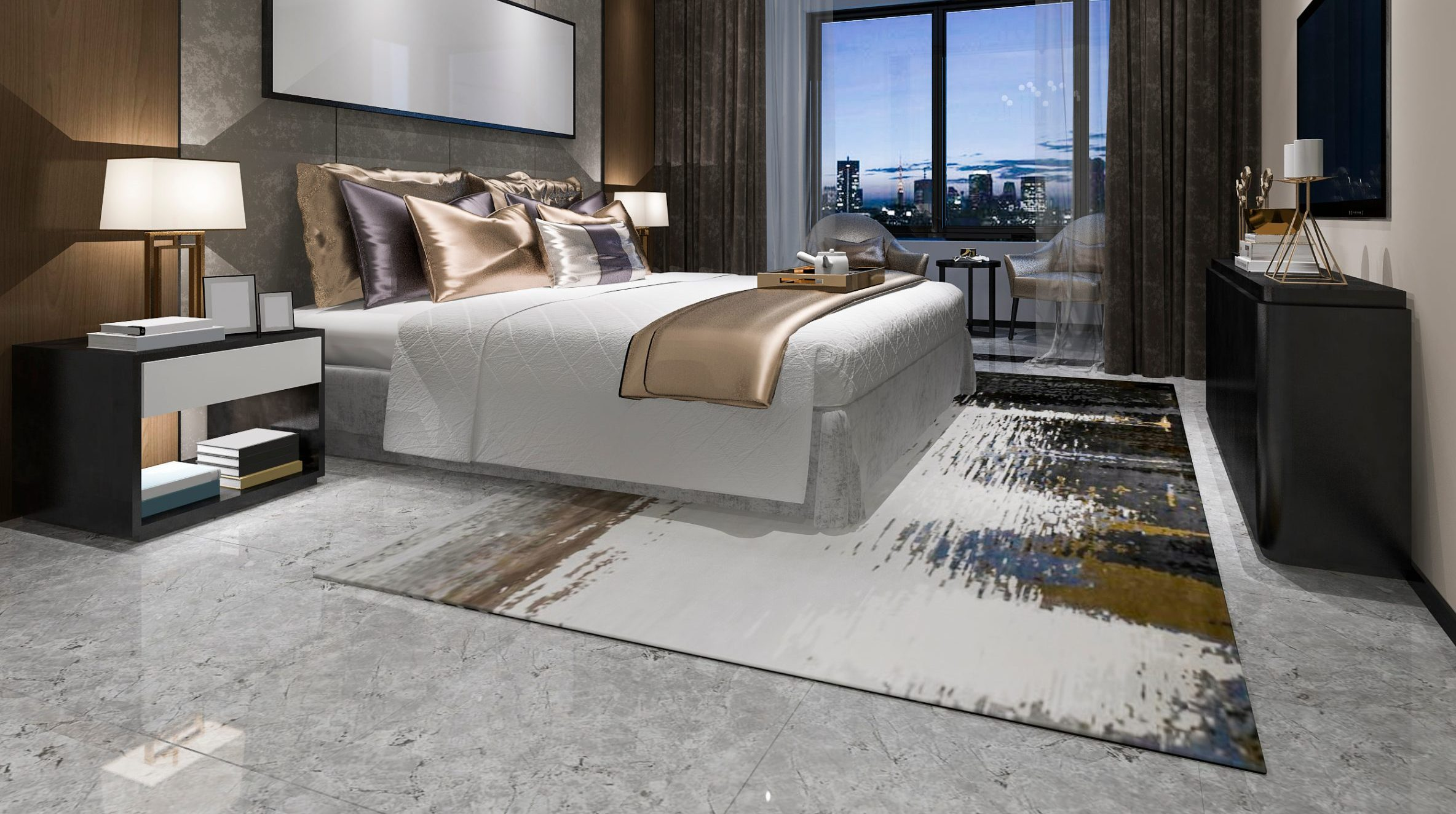 A luxurious hotel bedroom