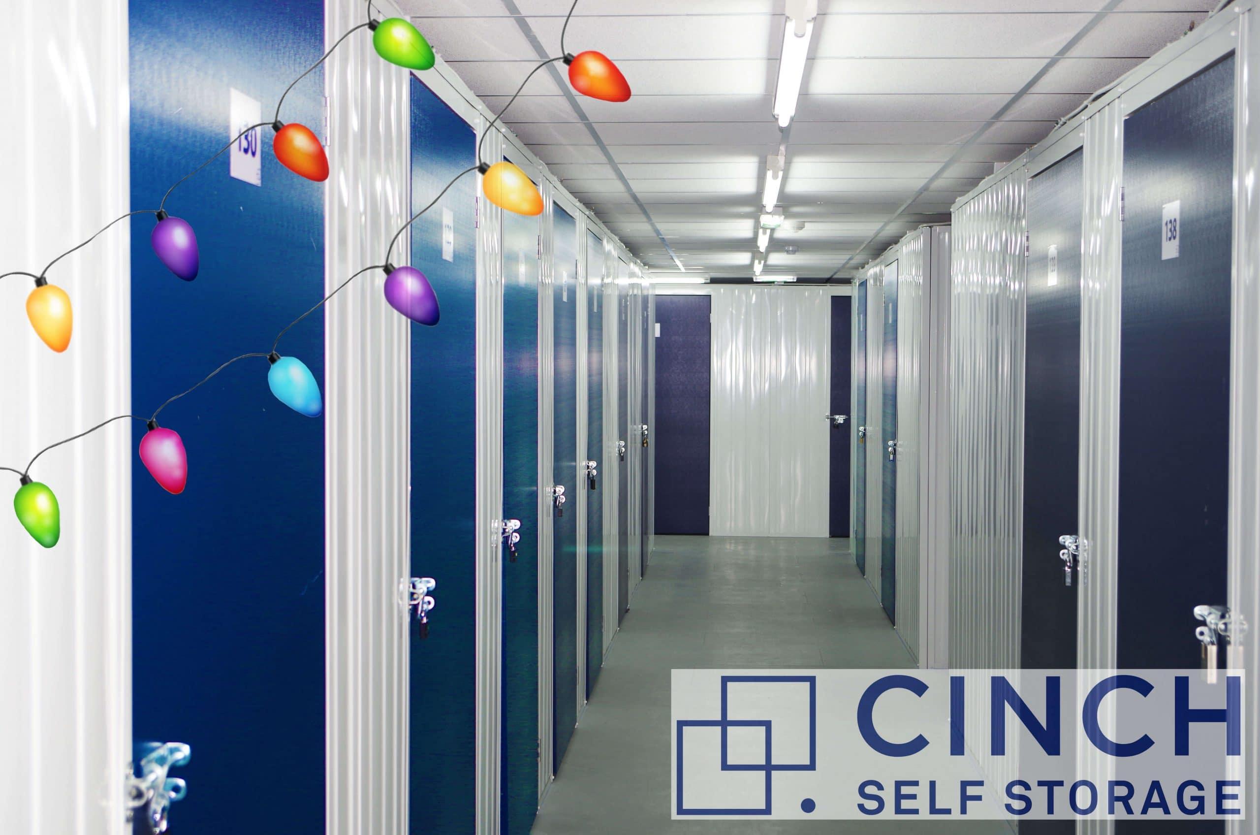 A storage facility hallway