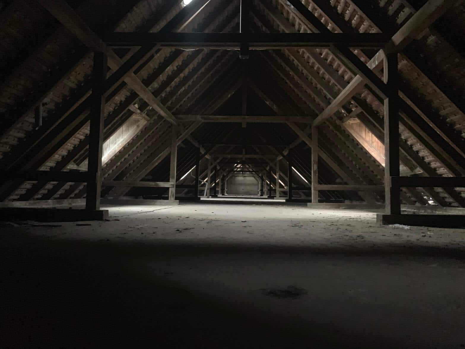 A dark and empty attic
