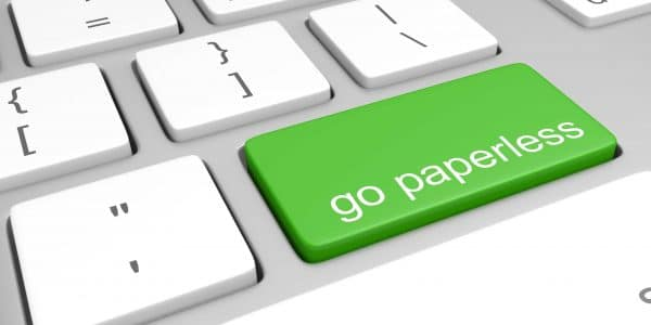 Keyboard button that says Go Paperless