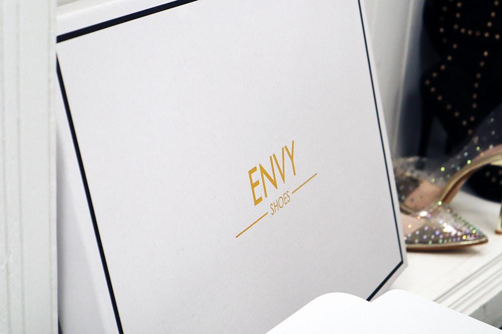 Envy Shoes shoe box in their Huntingdon self storage unit