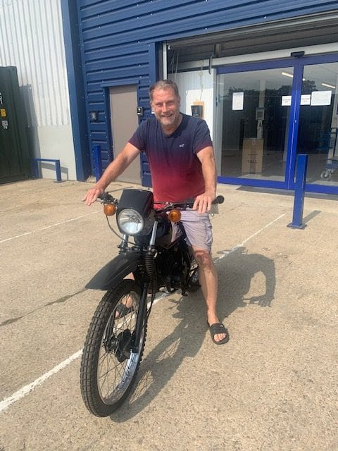 Gavin with his motorbike which was stored at Cinch Storage Bicester